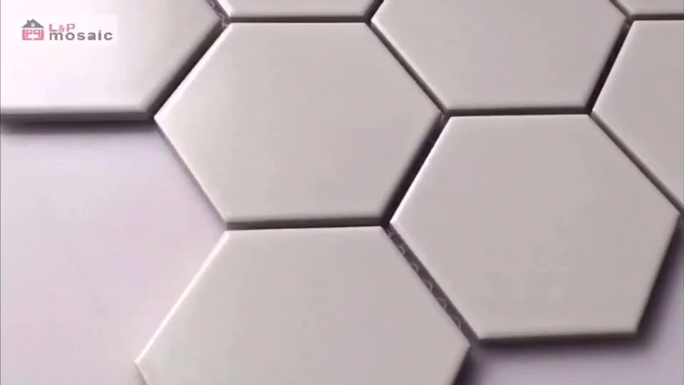 L&P Mosaic LJ9505 95X110mm White hexagon ceramic mosaic tile for floor and wall
