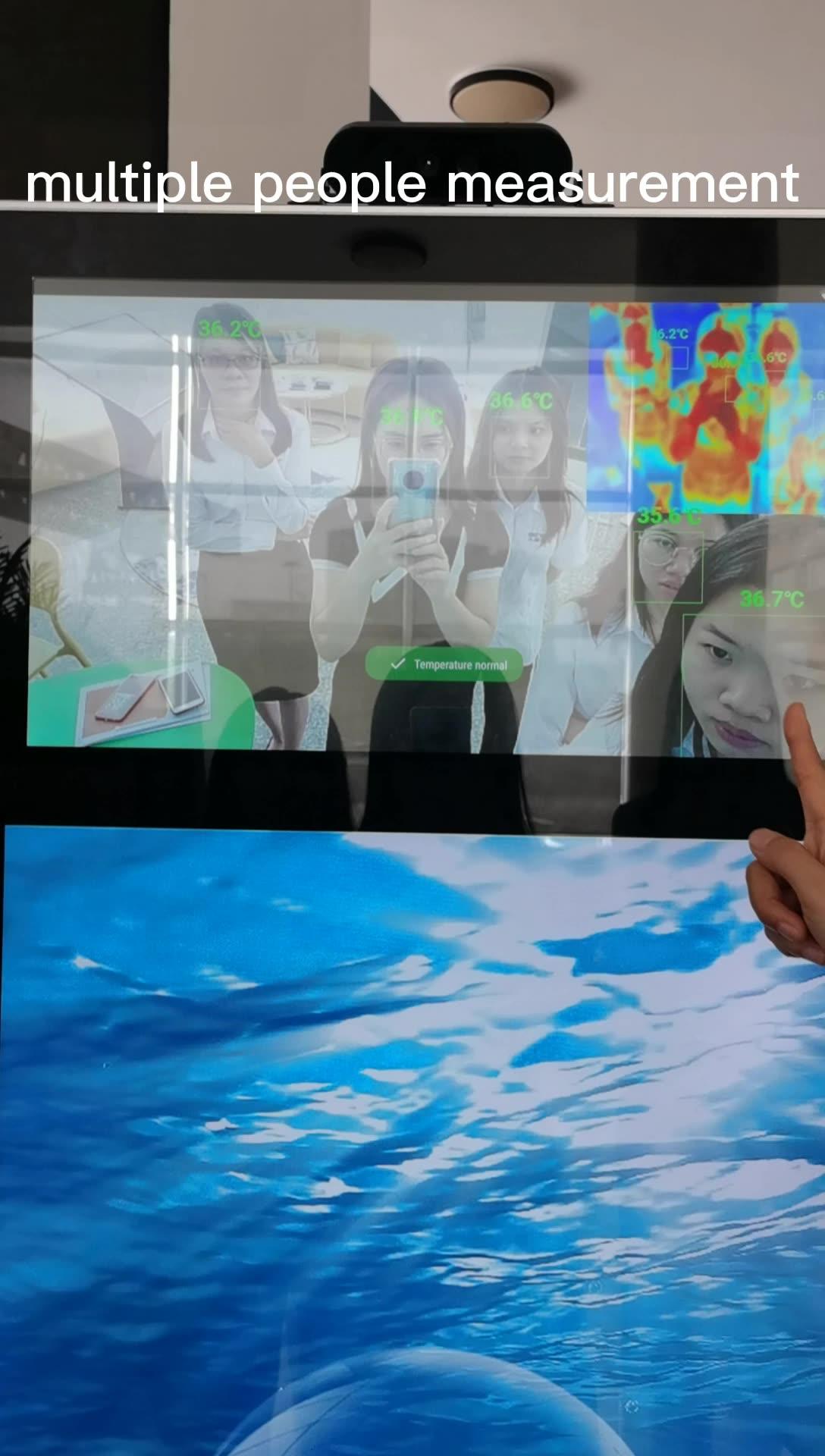 Temperatura de detección escáner quiosco Digital Signage kiosco y la pantalla de visualización de publicidad de los actores con Sensor de temperatura