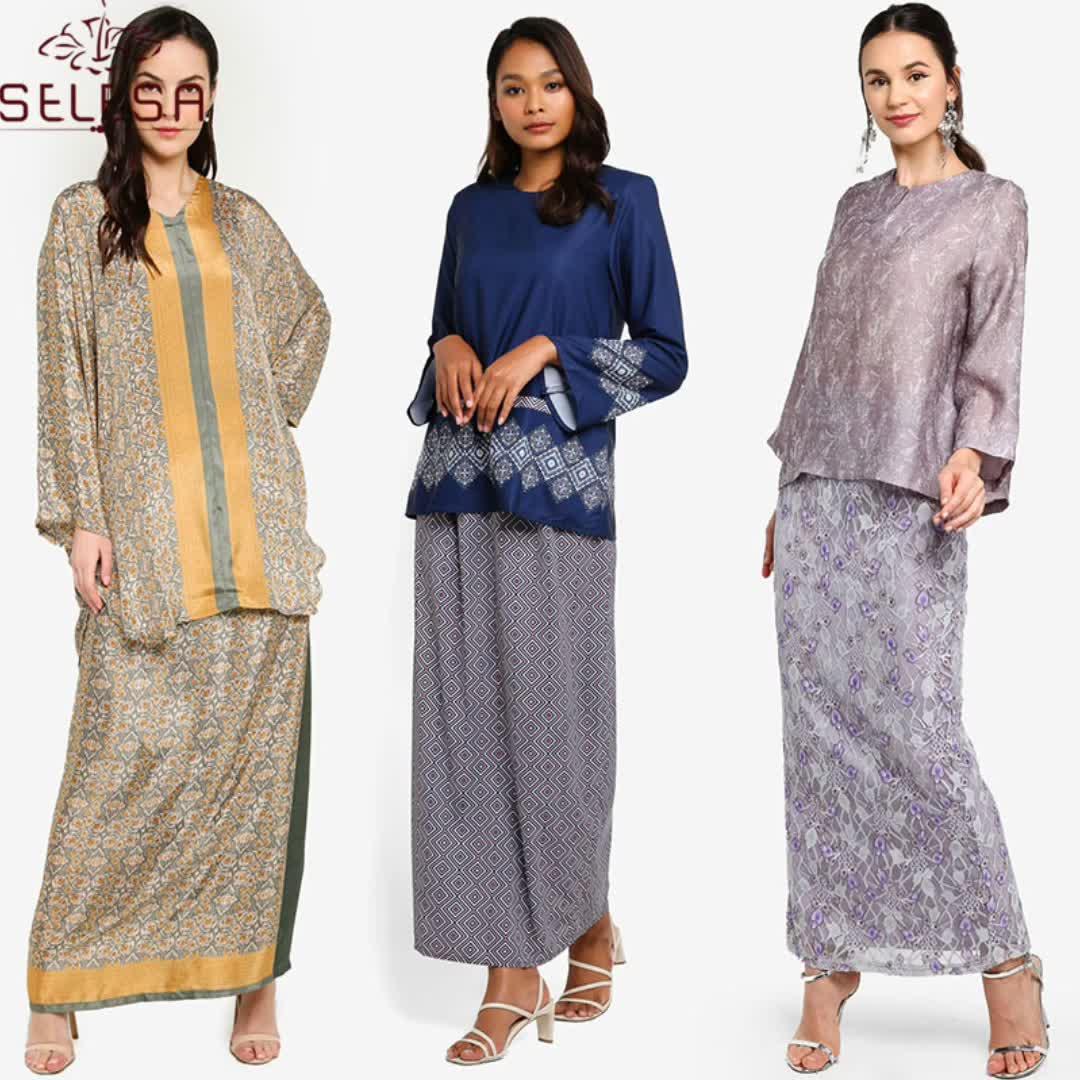 Latest Muslim Women Modest Wear Caftan Kaftan Dress Pleated Abaya Long Top For Muslim Girls Baju Kurung