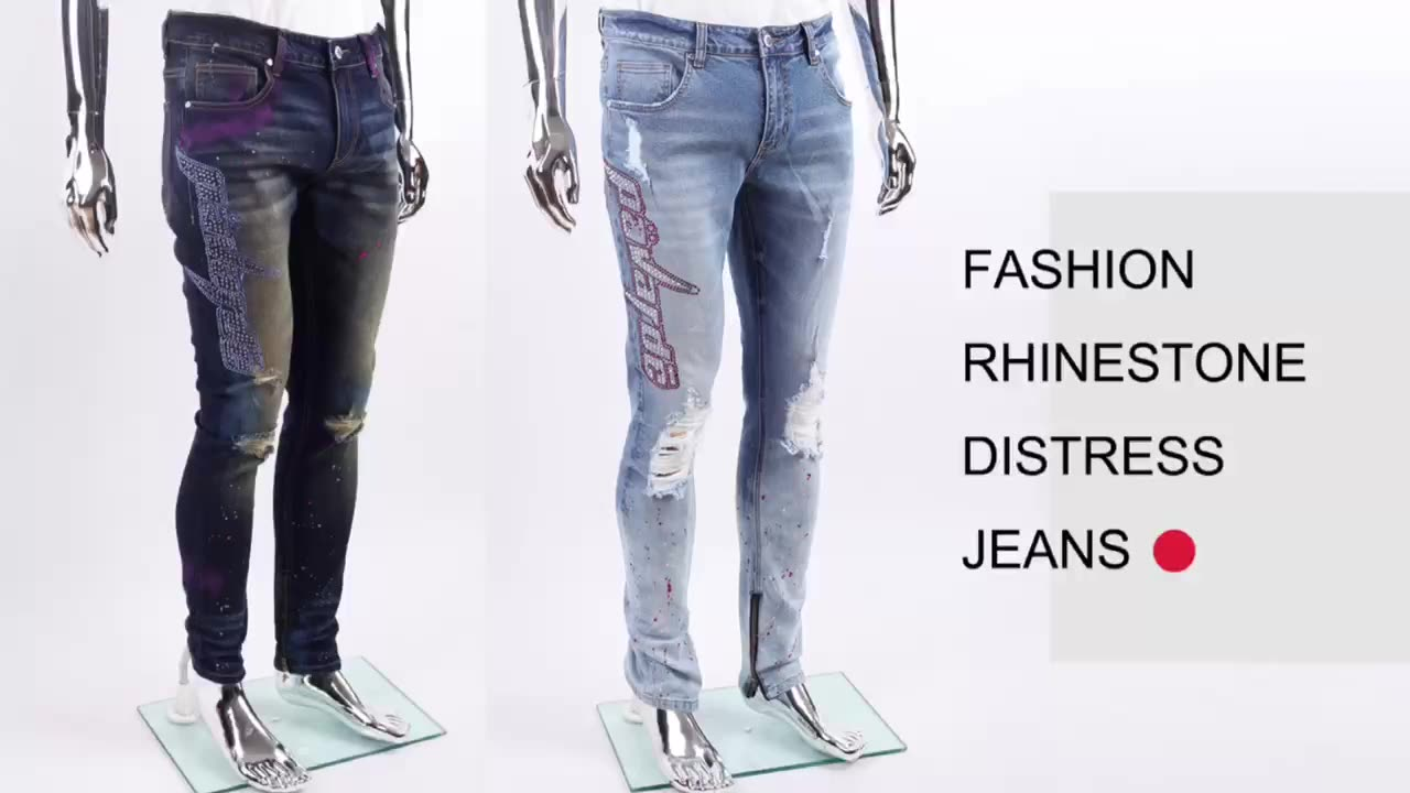 Edge Denim Custom New Fashion Hole Ripped Paint Distressed Rhinestone Blue Denim Stretch Men Jeans