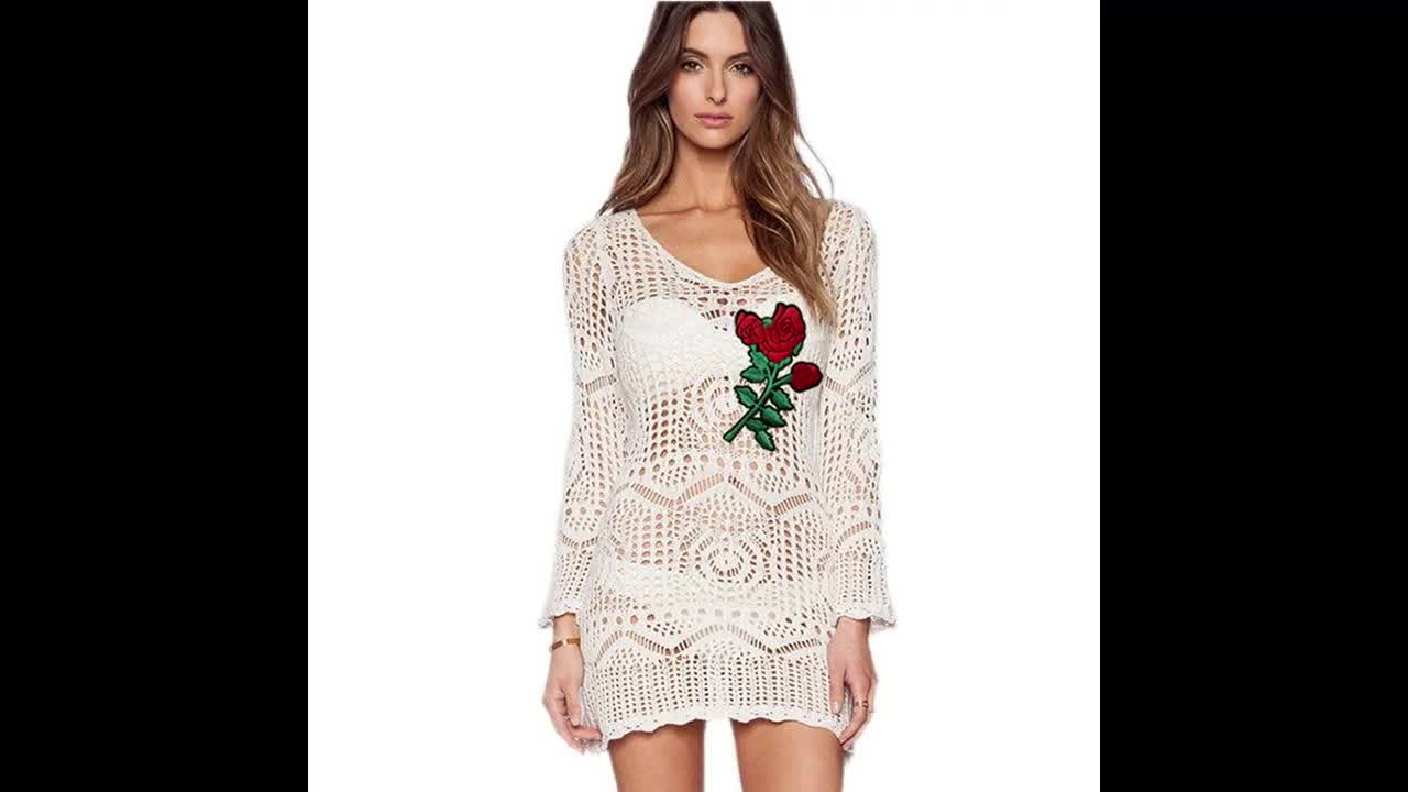 High quality sexy knitting hollow out beach cover-up party wear dress