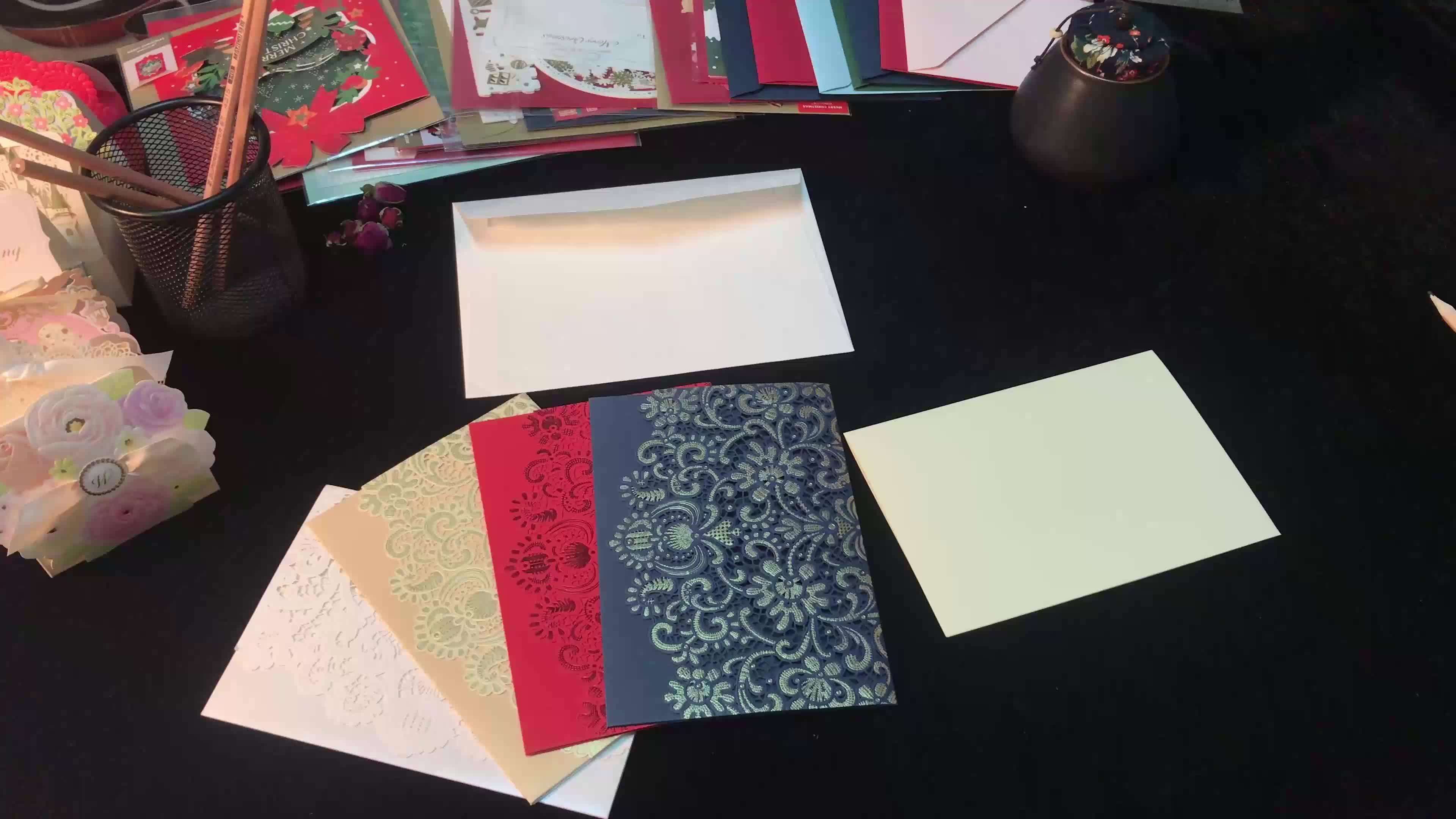 WISHMADE azul marino láser corte invitaciones tarjetas con sobres para boda fiesta bebé ducha aniversario