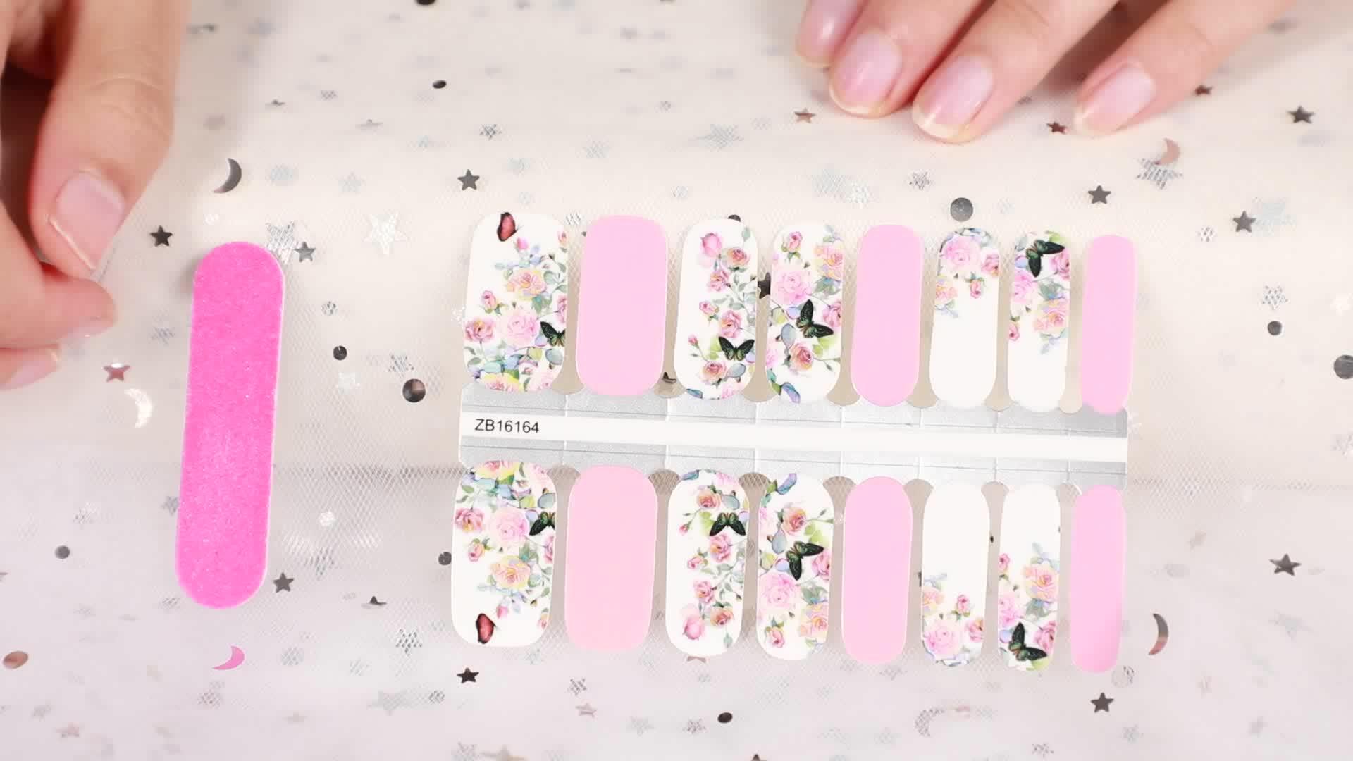 Laatste Volledige Cover Famous Brand Nagellak Sticker Marmeren Nail Art Design wraps, Nail strips