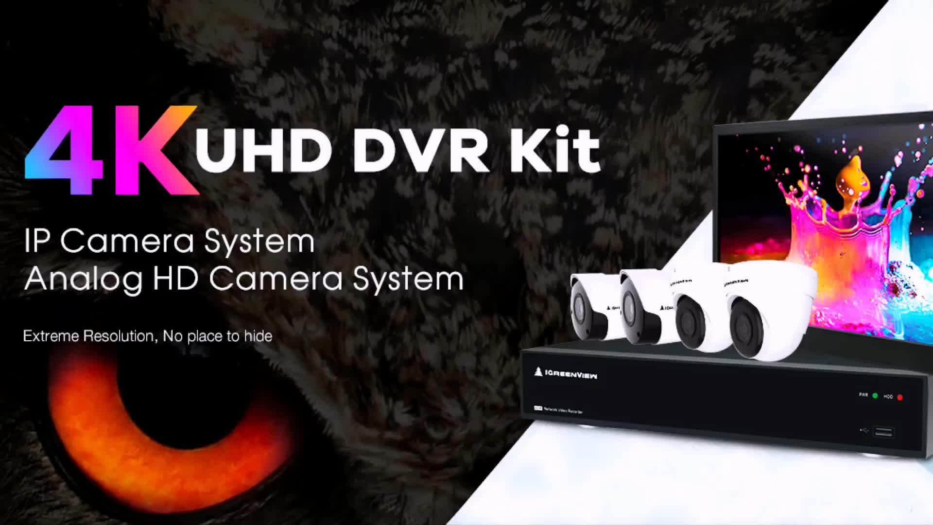 IGreenView h.264 नेटवर्क डिजिटल वीडियो रिकॉर्डर प्रणाली 16ch H.265 4 K AHD DVR