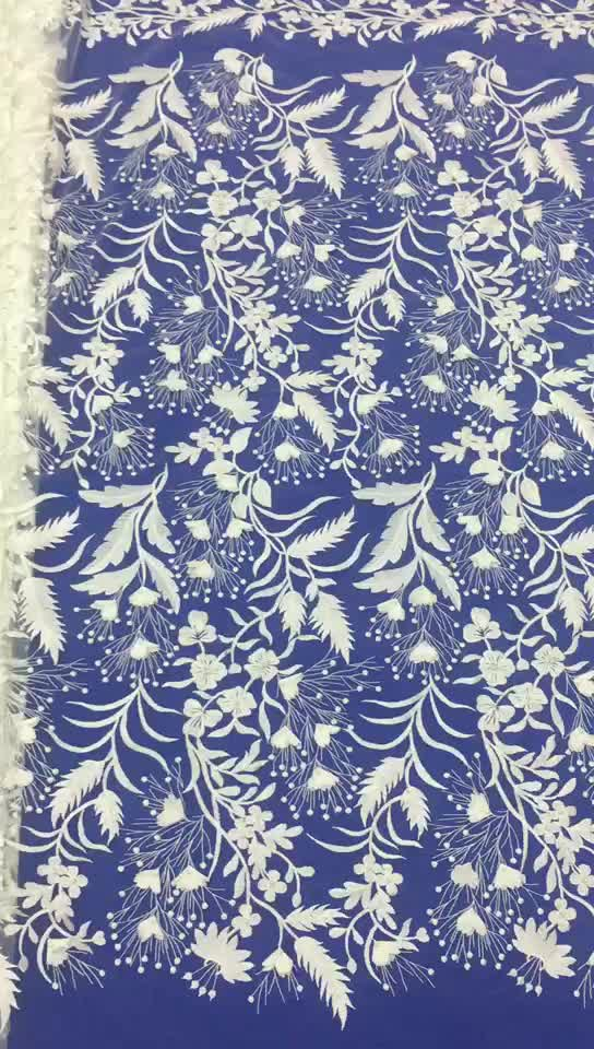 Guangzhou 100 percent clothing bridal lace fabric istanbul beaded lace fabric bridal 3d lace applique bridal