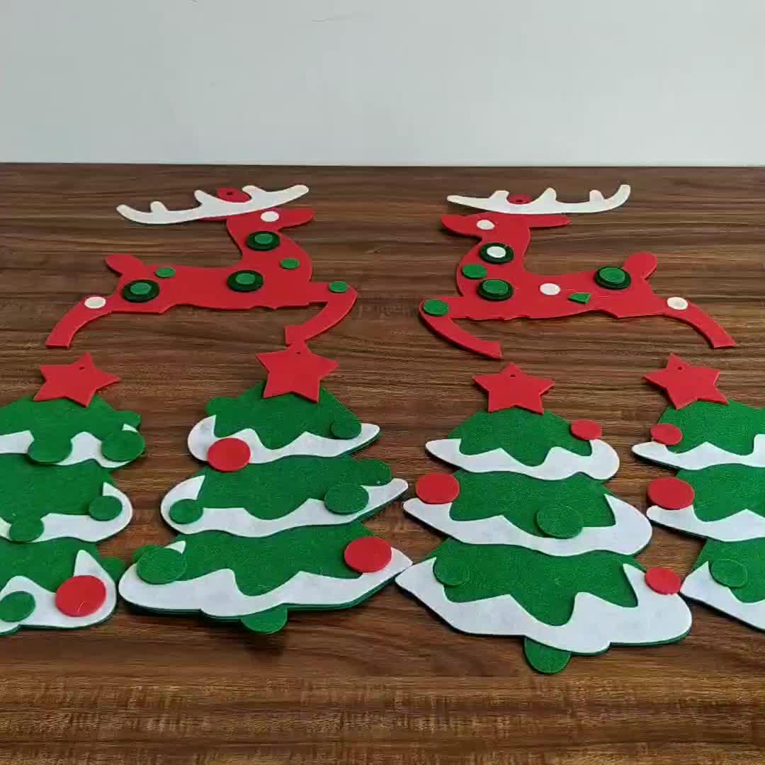 Felt christmas tree hanging christmas stockings animal felt applique for kids