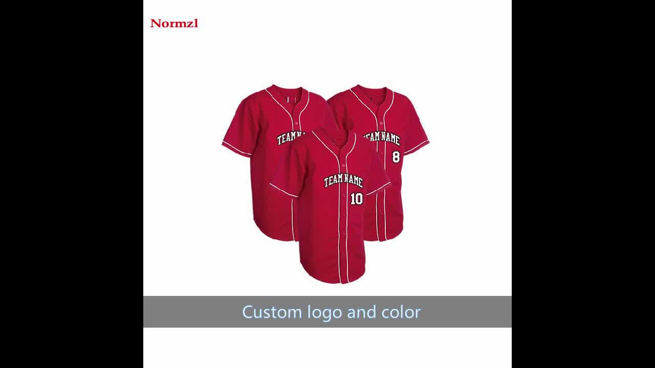 2019 new design red custom baseball jersey blank wholesale team uniform