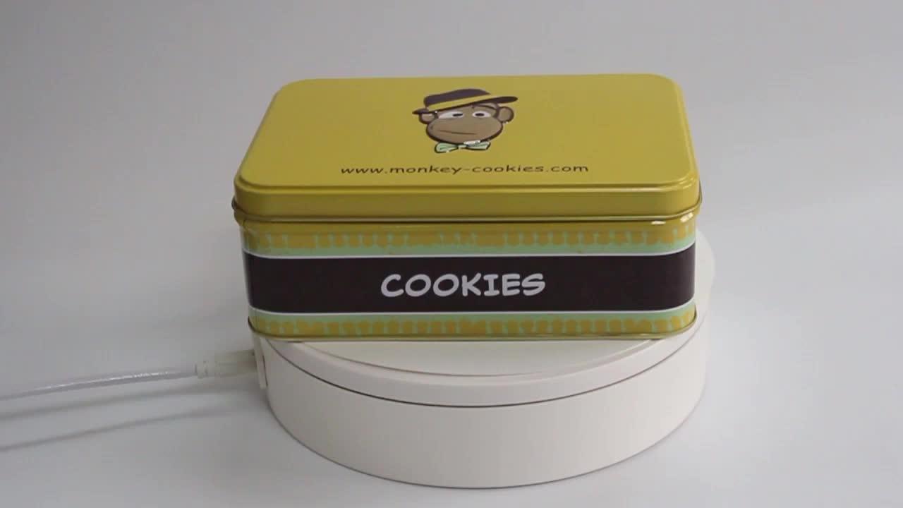 In Cookie Hộp Rỗng Hình Chữ Nhật Ngọt Cookie Tin Box Với Chèn PVC Khay