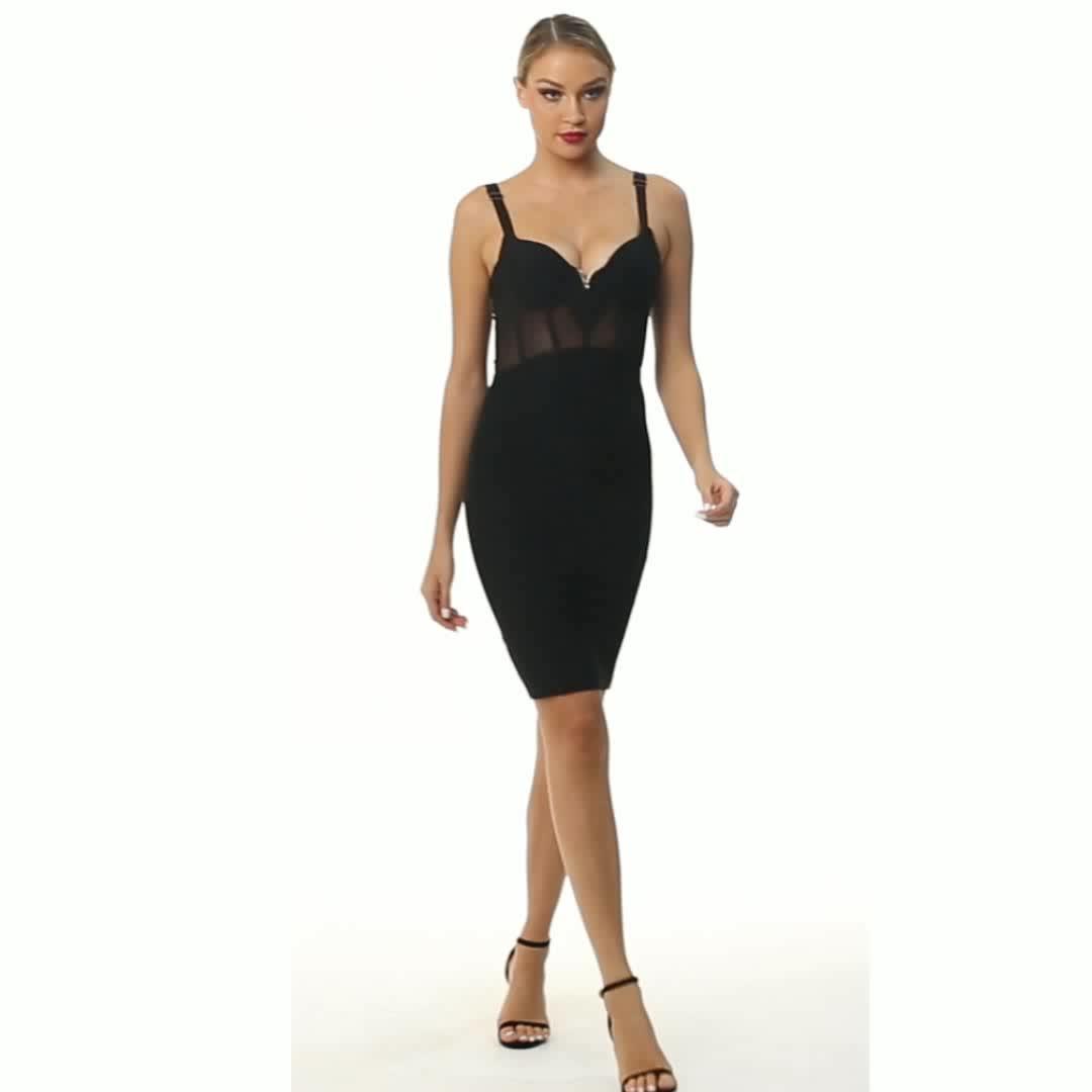 2020 Sexy Frauen Spaghetti Strap Durchsichtig Sheer Striped Korsett Bodycon Designer Kleid für Cocktail