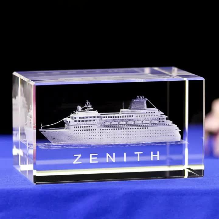 Wholesale 3D laser Engraving Crystal Cube  Luxury Cruise Ship Crystal Model Souvenir Gift