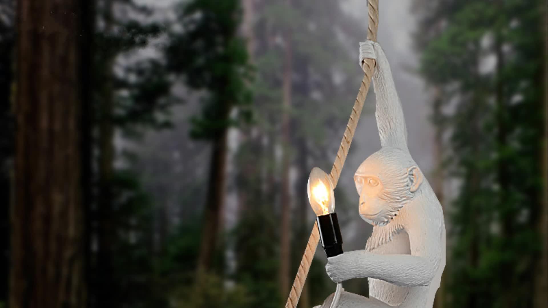 Industriale moderna appeso epoca grande scimmia resina LED illuminazione a sospensione