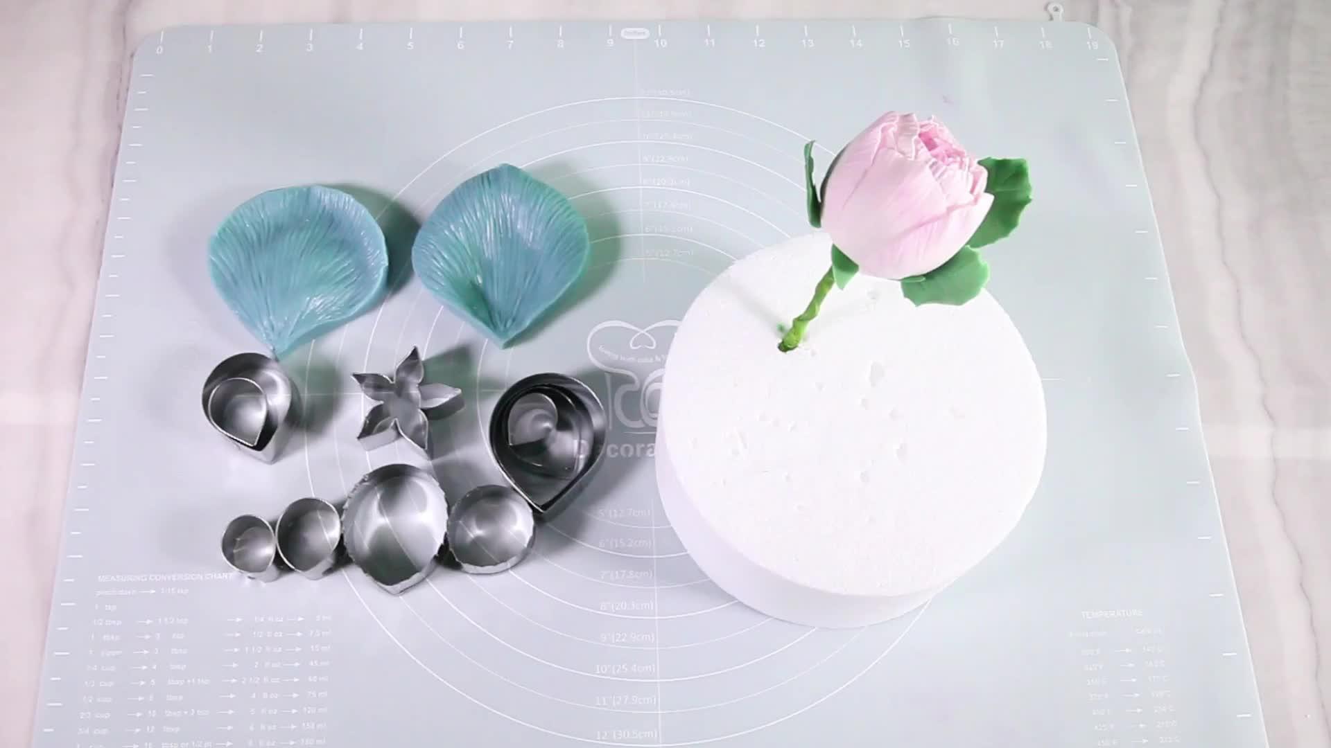 ベーキングケーキ装飾ツールセット用のポピーシリコン & ステンレスカッター金型 //