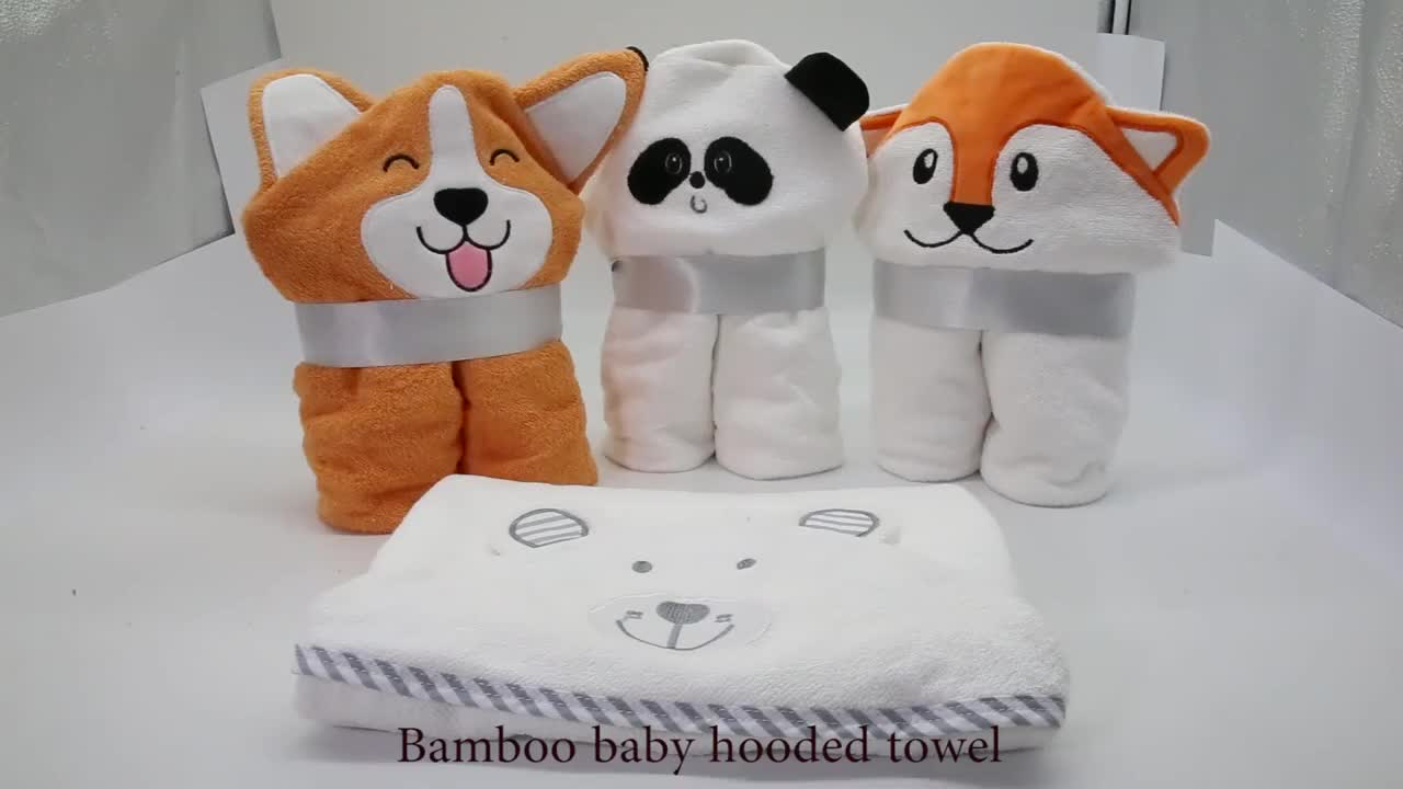 600 GSM Premium Extra Soft Hooded Bamboo Baby Bath Towel and Washcloth, Organic and Hypoallergenic towel