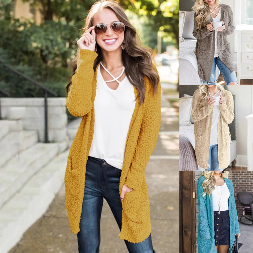 womens popcorn cardigans sweater casual open women's autumn knit knitted sweater cardigan