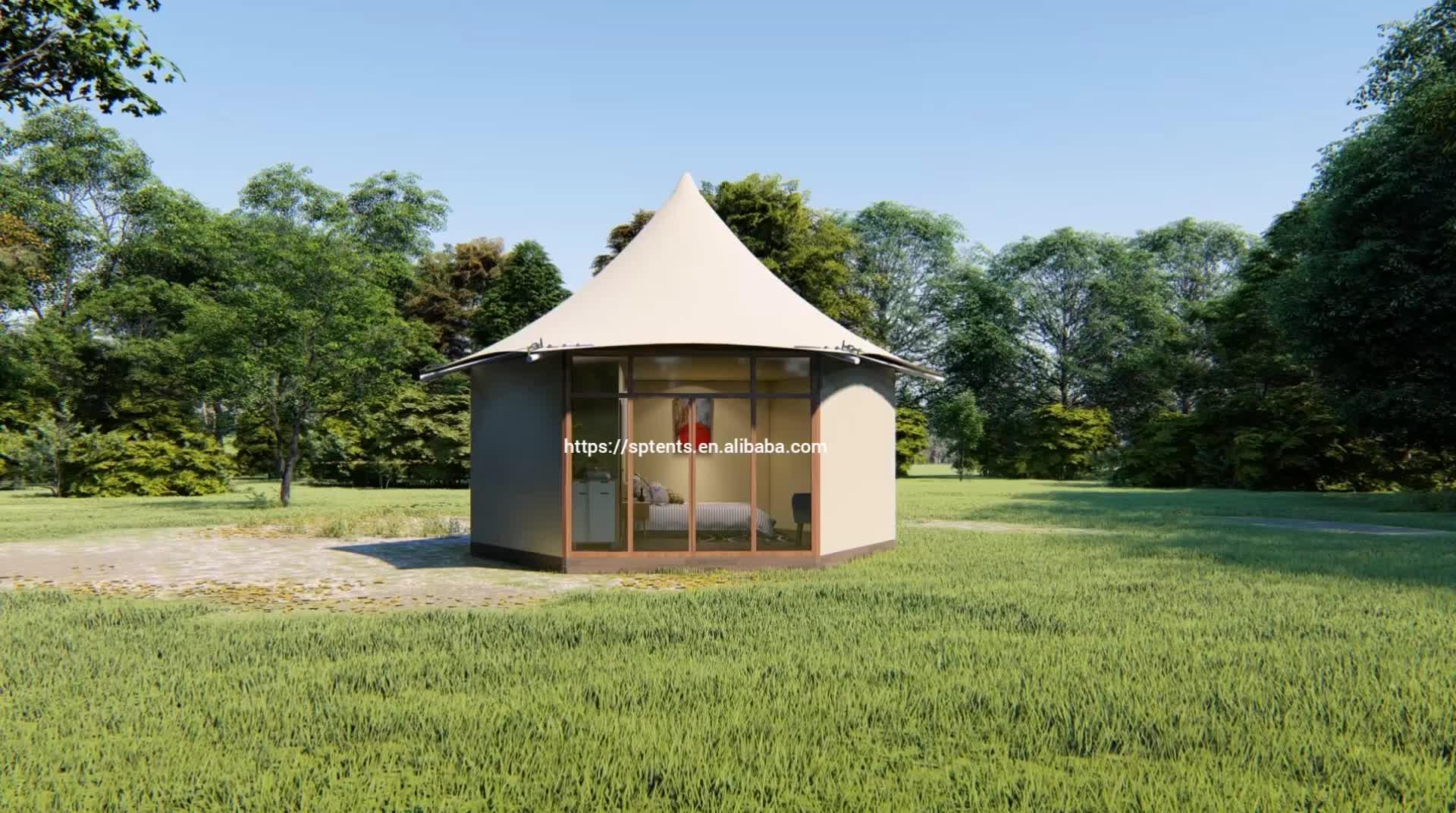Confortable permanent famille maison de luxe glamping tente d'hôtel avec la conception moderne
