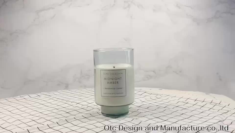 새로운 디자인 향기로운 왁스 녹차 민트 & 촛불 데코 유리 항아리/2 크기