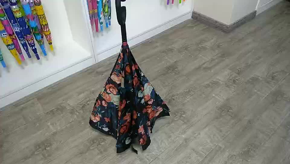 Custom double layer windproof reverse umbrellas c handle inverted umbrella