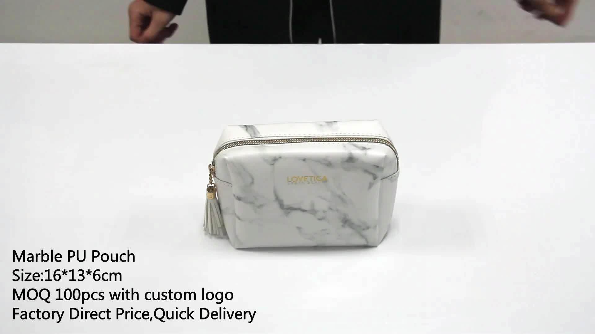 ECO GREEN Pattern PU Custom Marble Makeup Cosmetic Bag