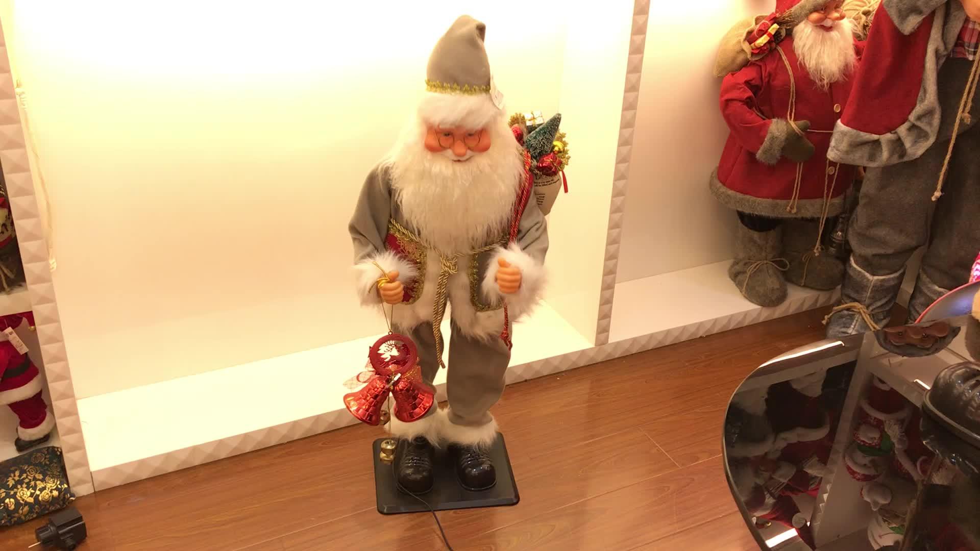 ขายHotคริสต์มาสปัจจุบันปรับปริมาณโค้งซานตาคลอสกับระฆังและลูก