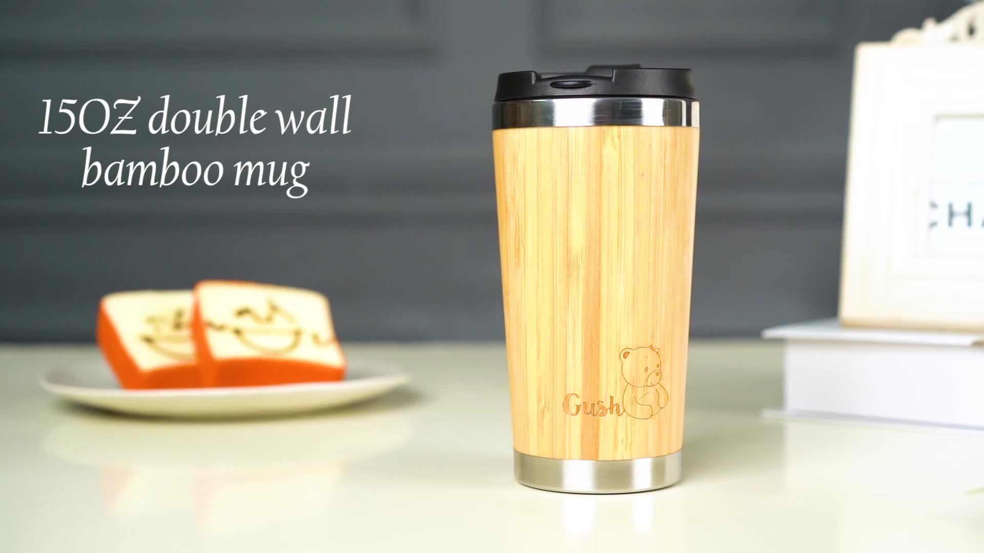 Logo Custom Tea Flask Drink Bamboo Bottle Insulated Stainless Steel Bamboo Bottle