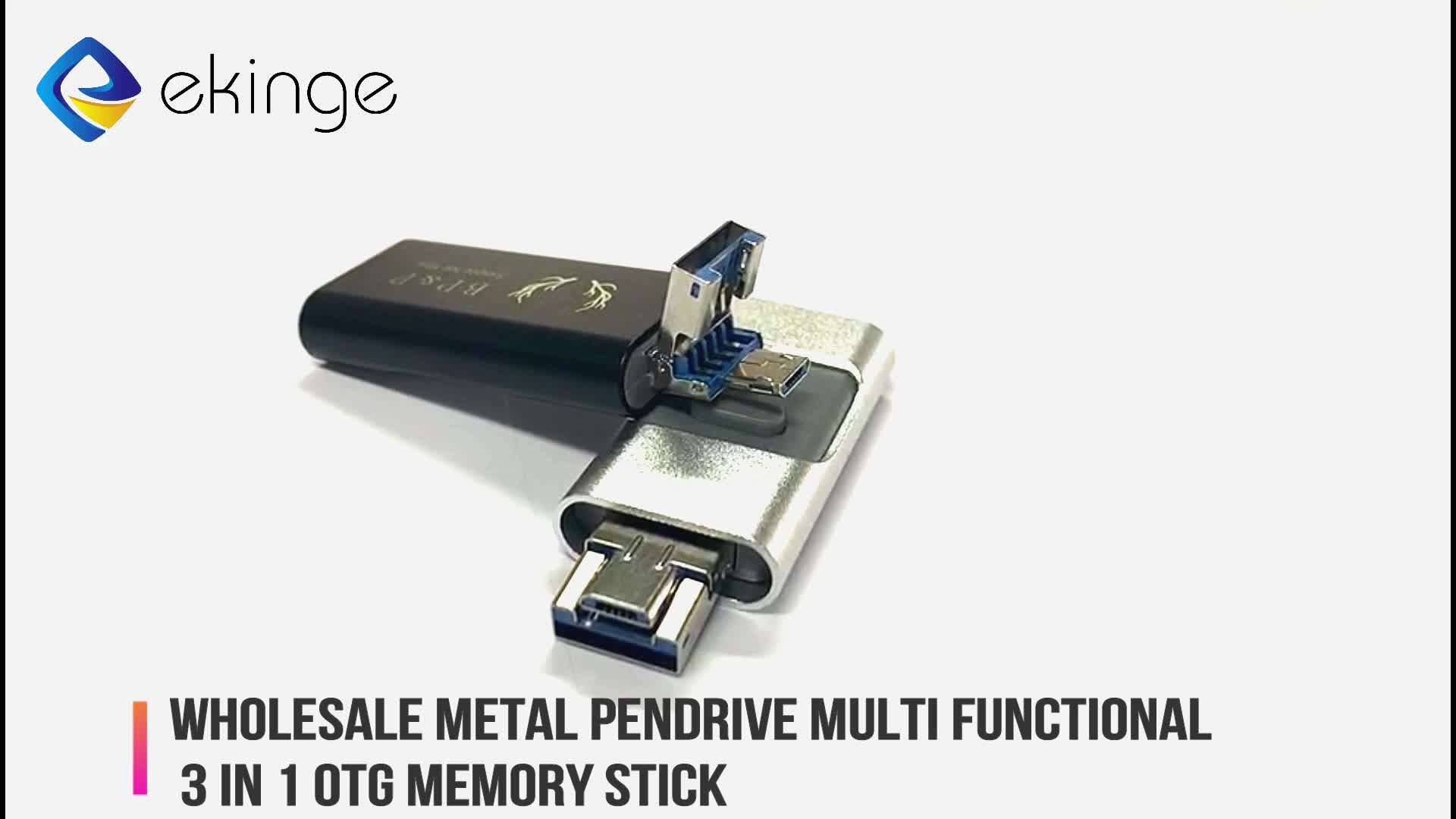 Wholesale metal pendrive Multi Functional 3 in 1 otg usb flash drive 8GB 16GB 32GB 64GB memory stick for IOS PC Android Devices