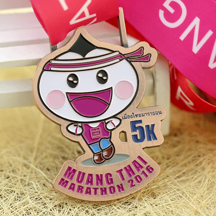 Shuanghua factory custom antique metal marathon sports medal with ribbon