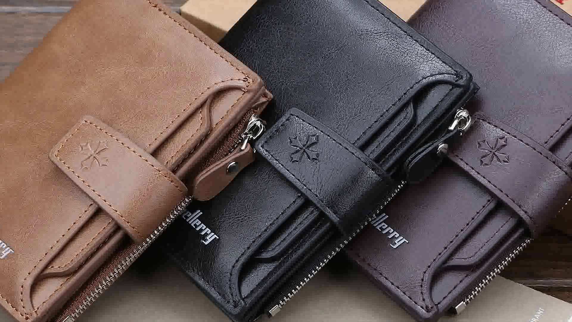 Baellerry 2019 New Style Men's Short Section PU Leather Wallets With Hasp,Blocking Card Holder Zipper Purse For Man