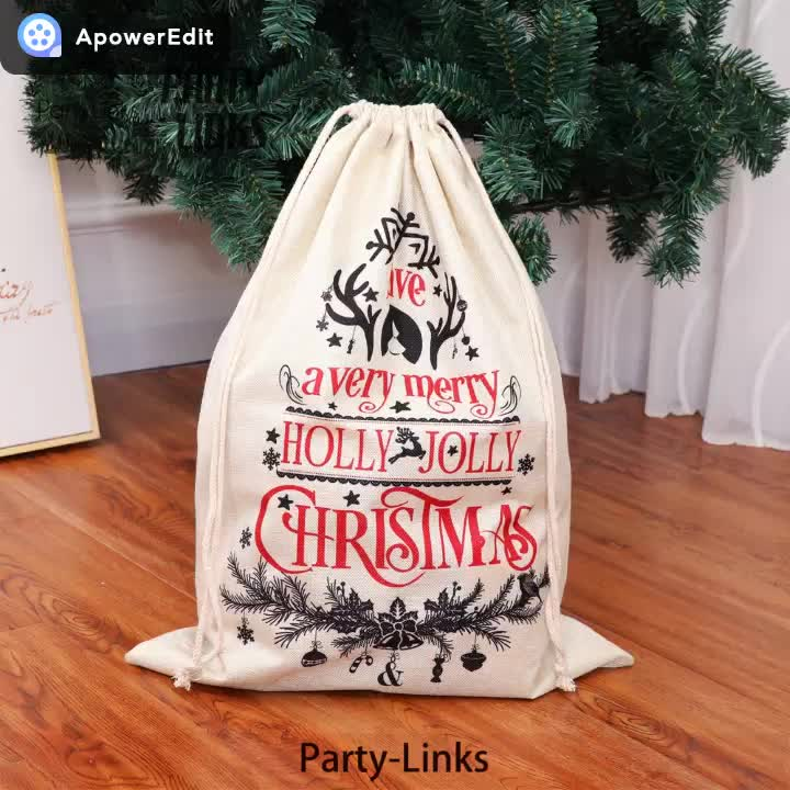 Personalized Large Christmas Party Drawstring Kids Gift Bag Decorations Santa Sack Canvas Bags