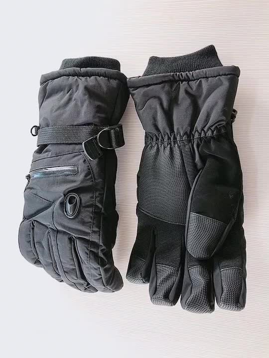 China Factory Supply Black  Windproof  Winter Ski Glove Snowboard Glove Durable Outdoor Sports Gloves for Adults