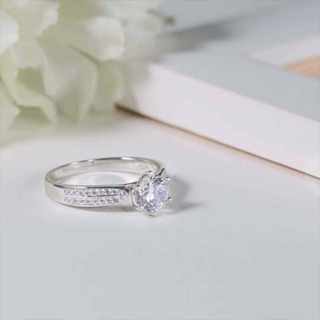 M06A Messi Jewelry star queen white gold plated S925 sterling silver 1 carat DEF VVS moissanite women ring