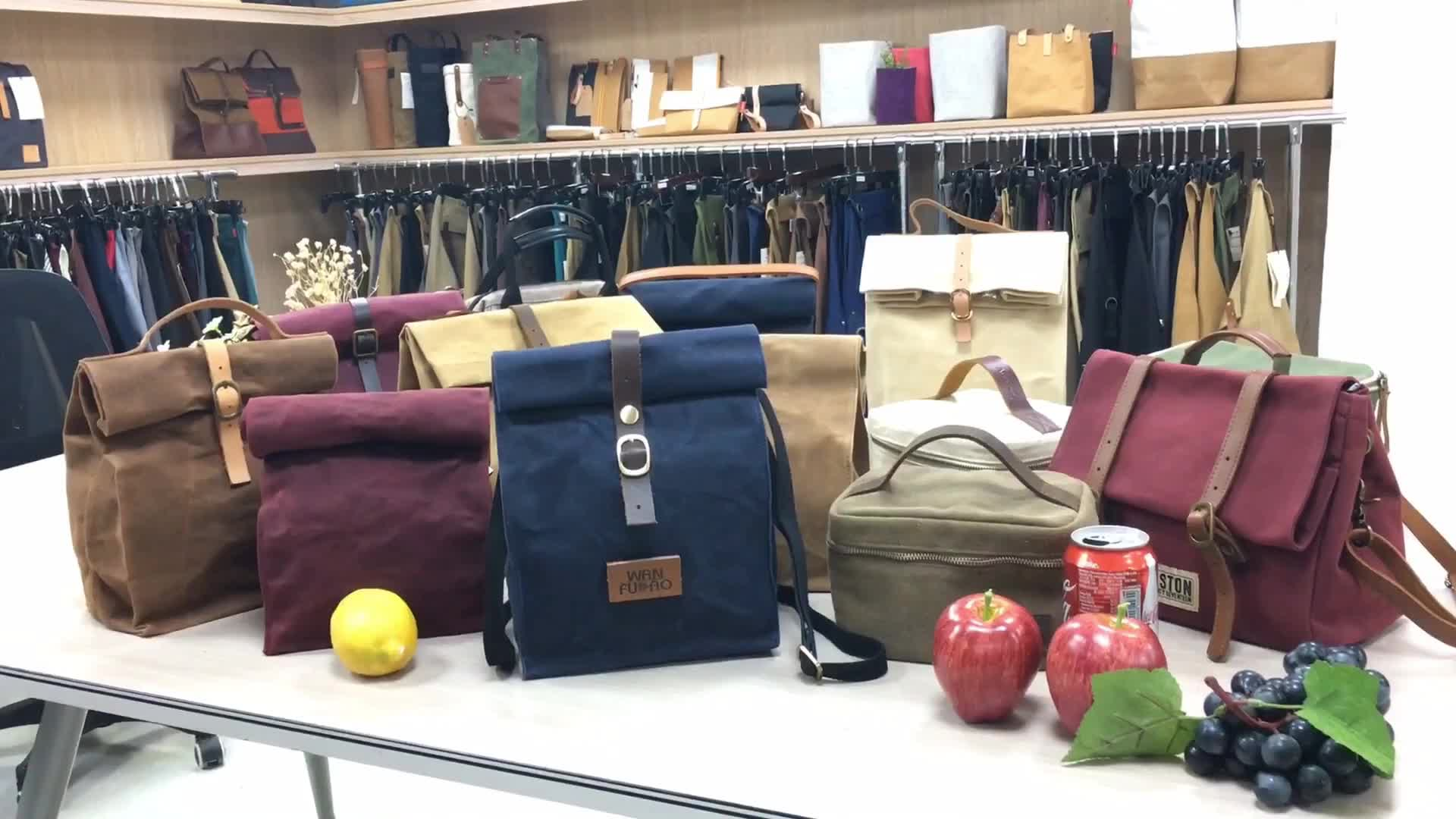 Custom Vintage Insulated Waxed Canvas Lunch Cooler Bag for adult