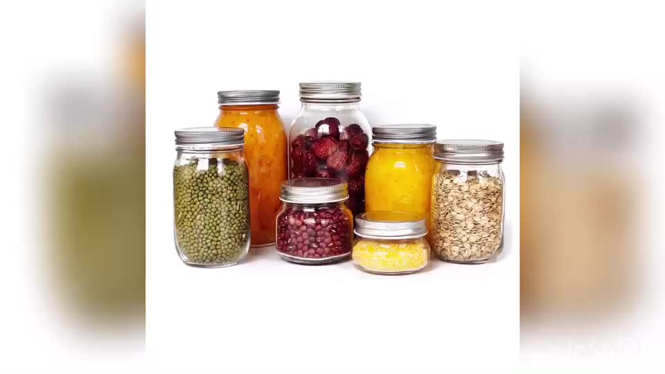 16oz Glass Jars Containers Glass Mason Jars 500ml with 70ml Metal Lids