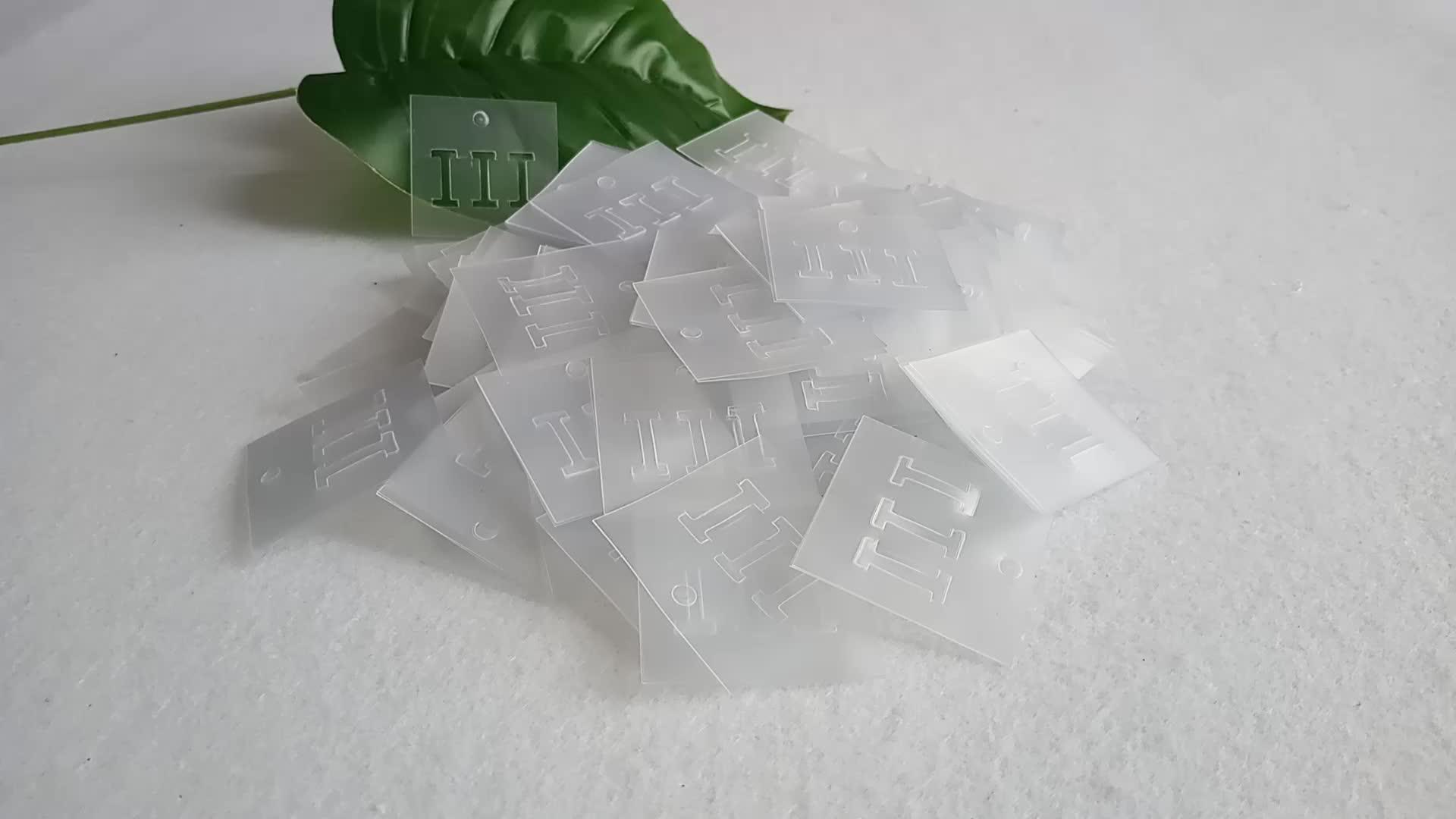 Luxus Individuelles Logo Tuch Klar Transparent PVC Kunststoff Hängen Tags
