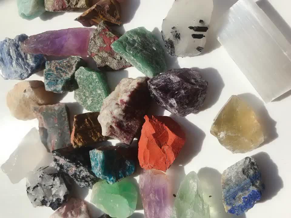 Natural de alta calidad de 7 siete Chakra caído Reiki piedra conjunto