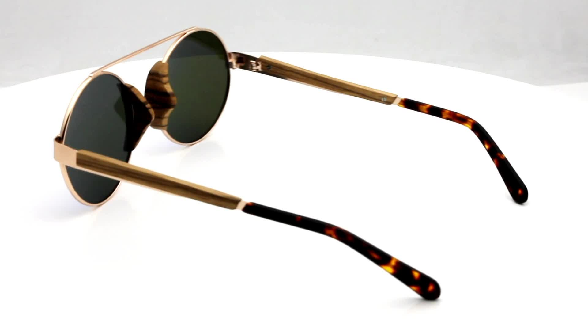 New style  special zebra acetate wood sunglasses with polarized lens made in China