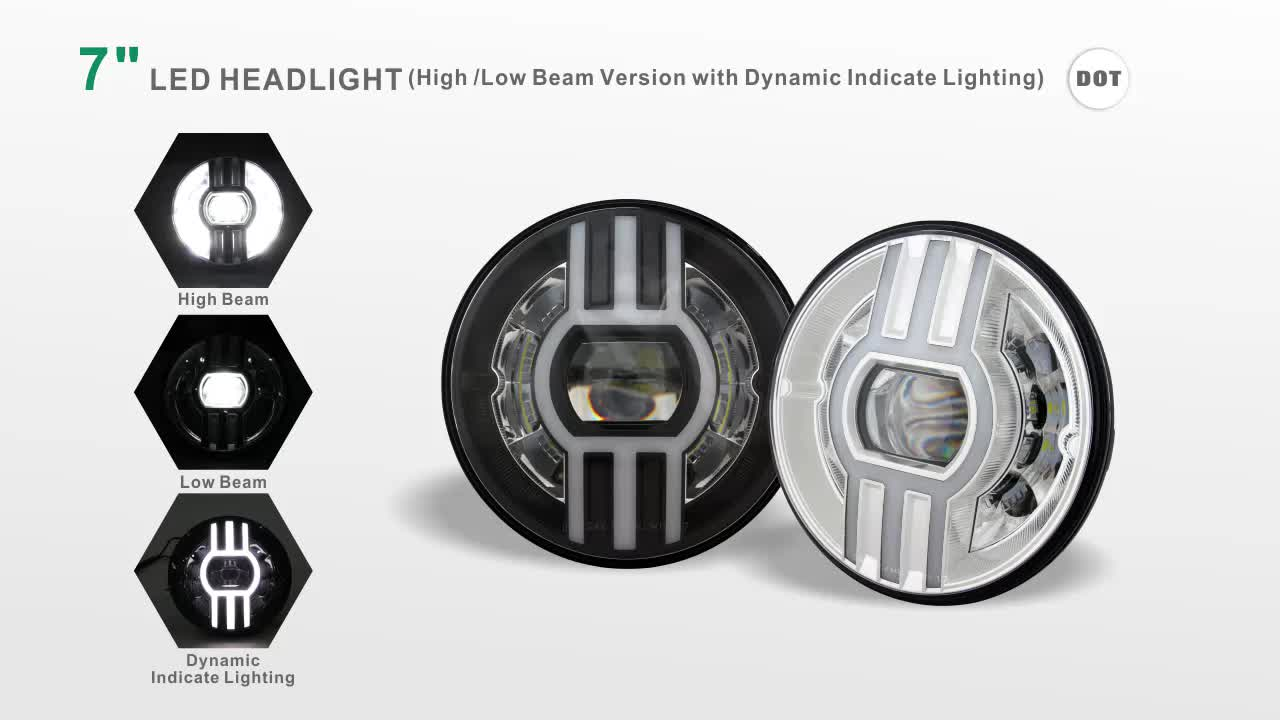 "New launched car accessories DOT 12V 24V 7"" led conversion kit high low beam 7"" round 80W led headlight"
