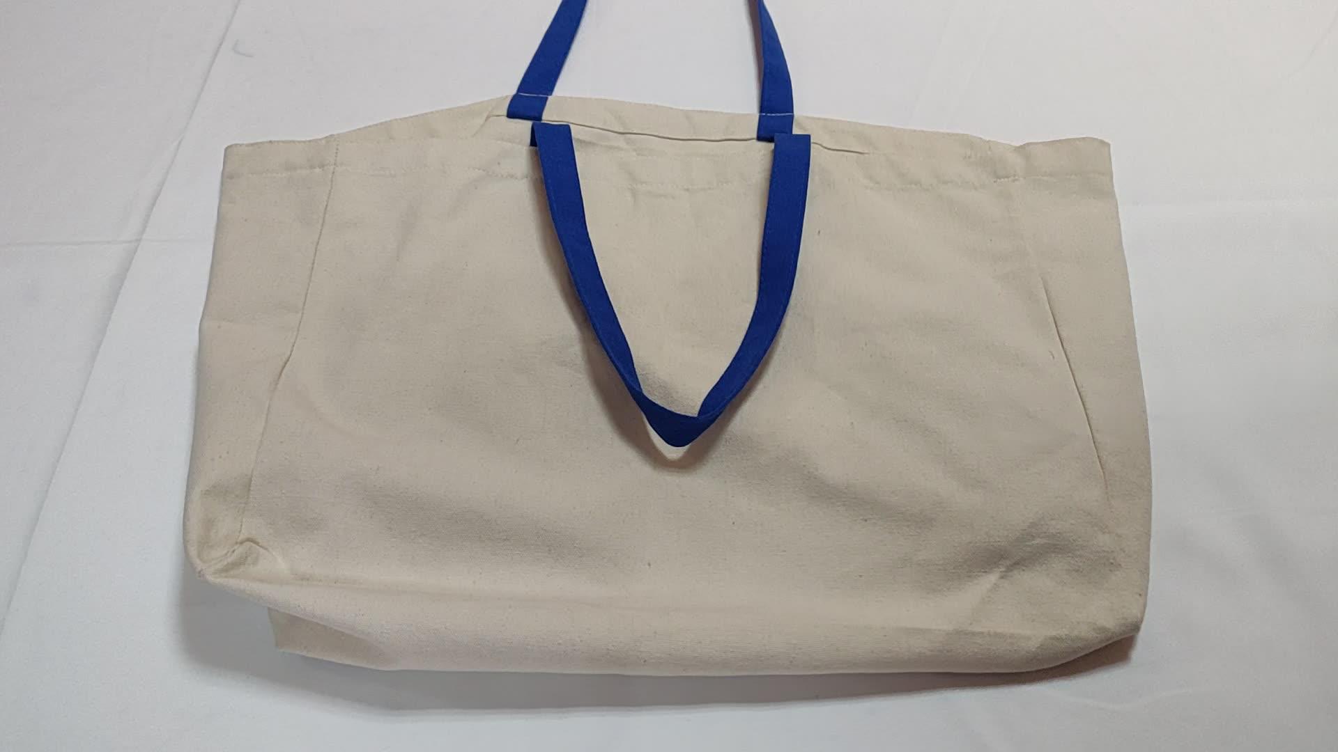 複数ポケット付きエココットントートバッグキャンバスバッグカスタムロゴ
