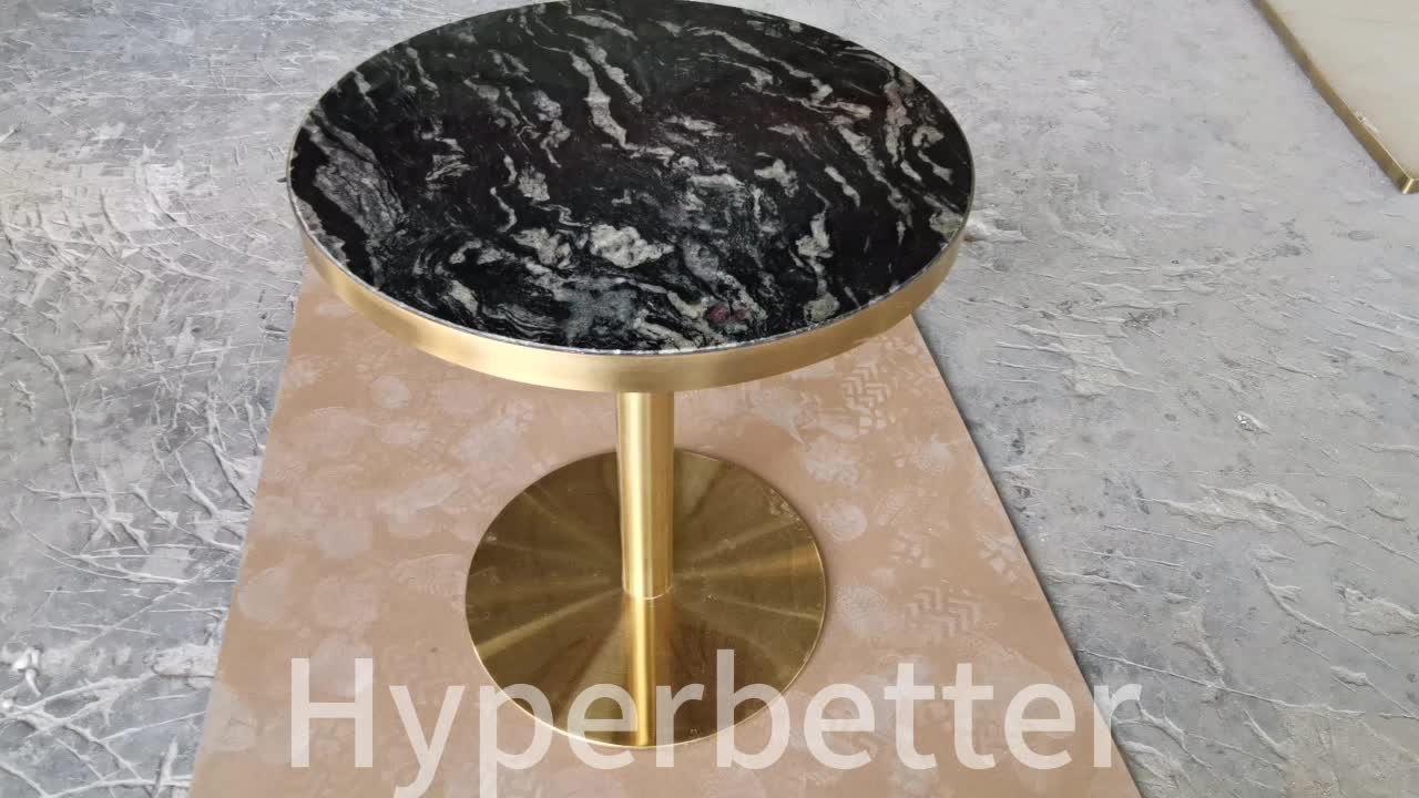 Round Cosmic black granite dinner table
