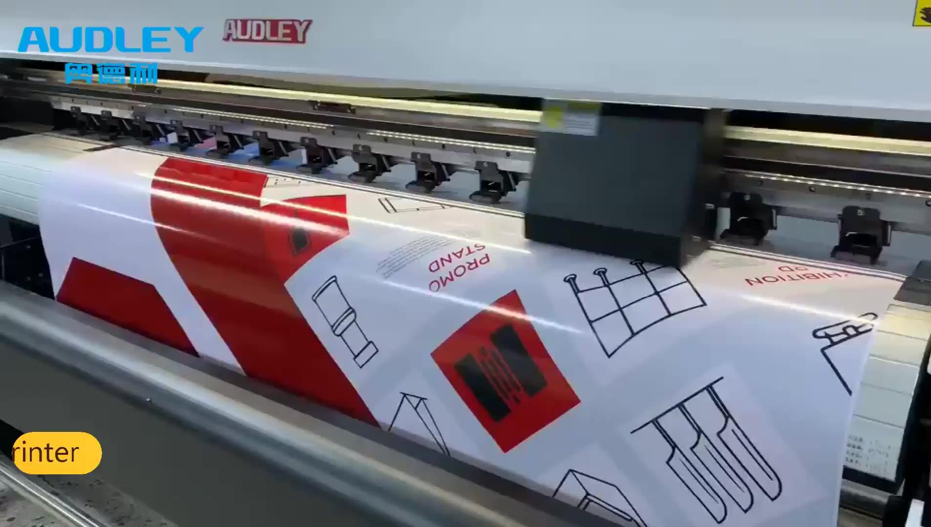 1.8m audleyราคาถูกECOตัวทำละลายเครื่องพิมพ์ติดตั้ง 1 หรือ 2 XP600 สำหรับโฆษณาการพิมพ์