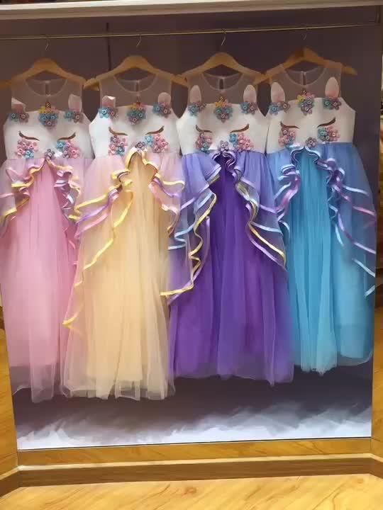3-14 年ユニコーン在庫ファッションウエディングイベントフロック美しいフェスティバルスタイルパーティーフラワーガールドレス DJS009