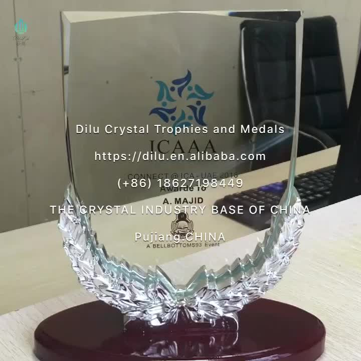 Chinese pujiang wholesale customized creative crystal glass trophies awards