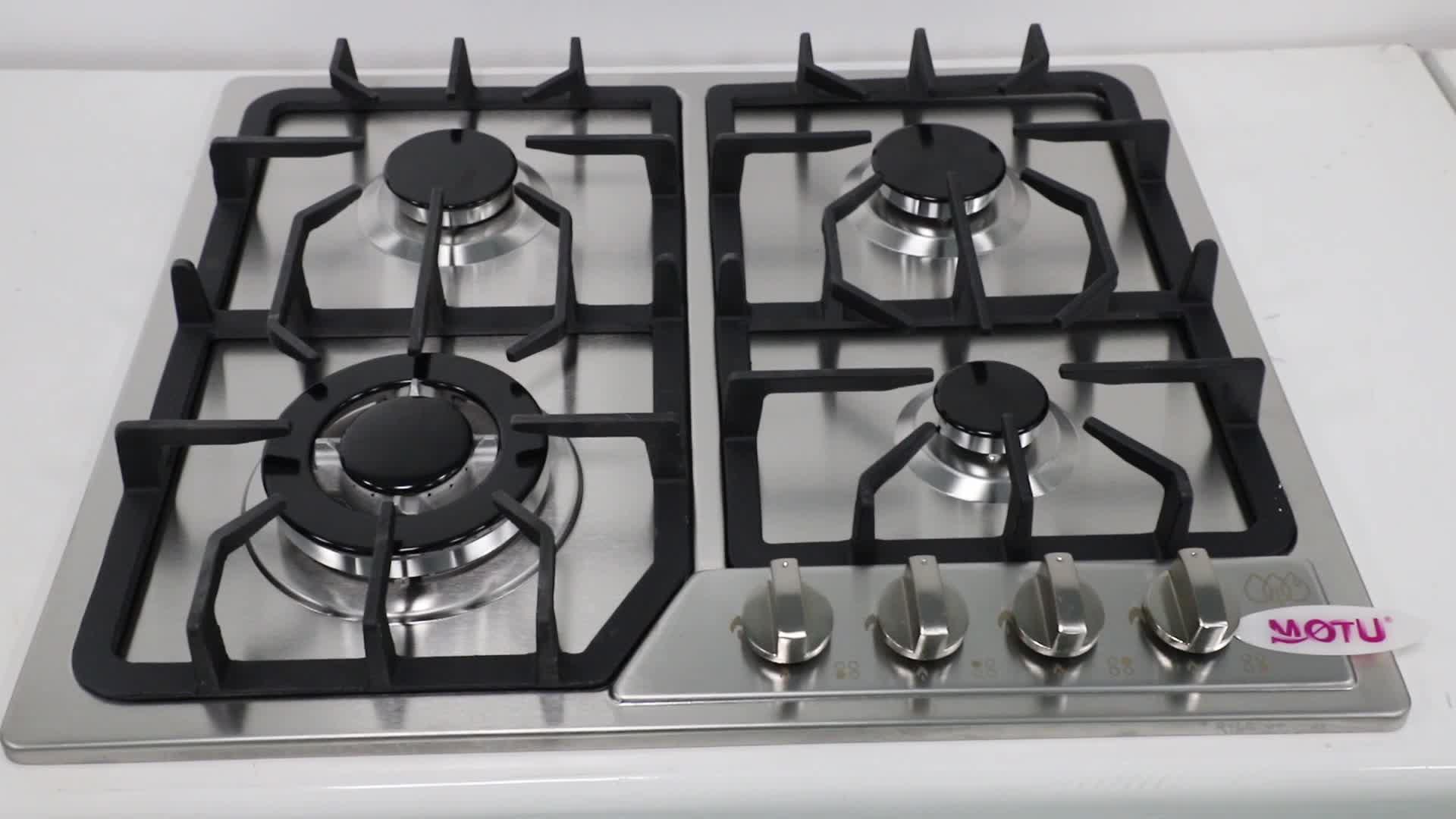 Familie gebruikt bulit gaskookplaten 4 5 branders tafel top gasfornuis