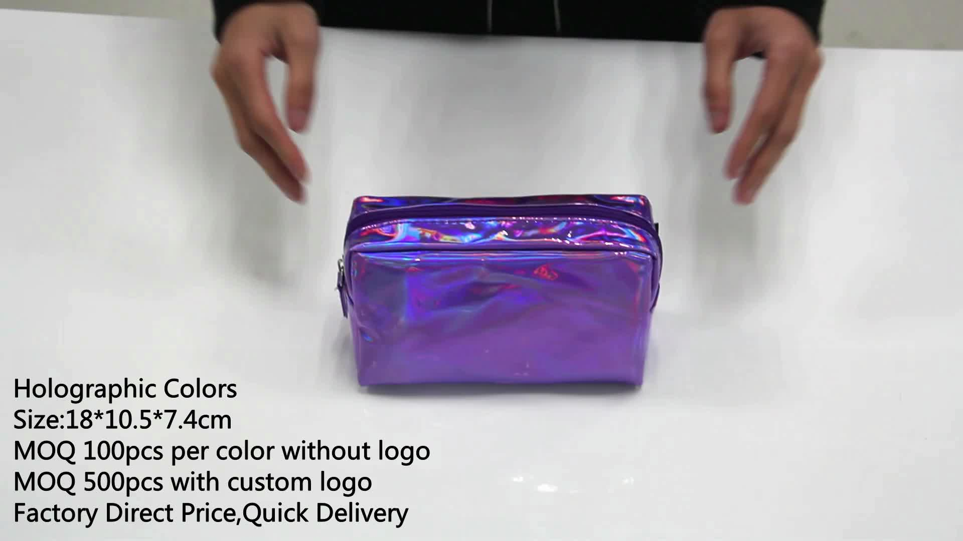 Custom Holographic Makeup Pu Leather Pouch Women Cosmetic Bag