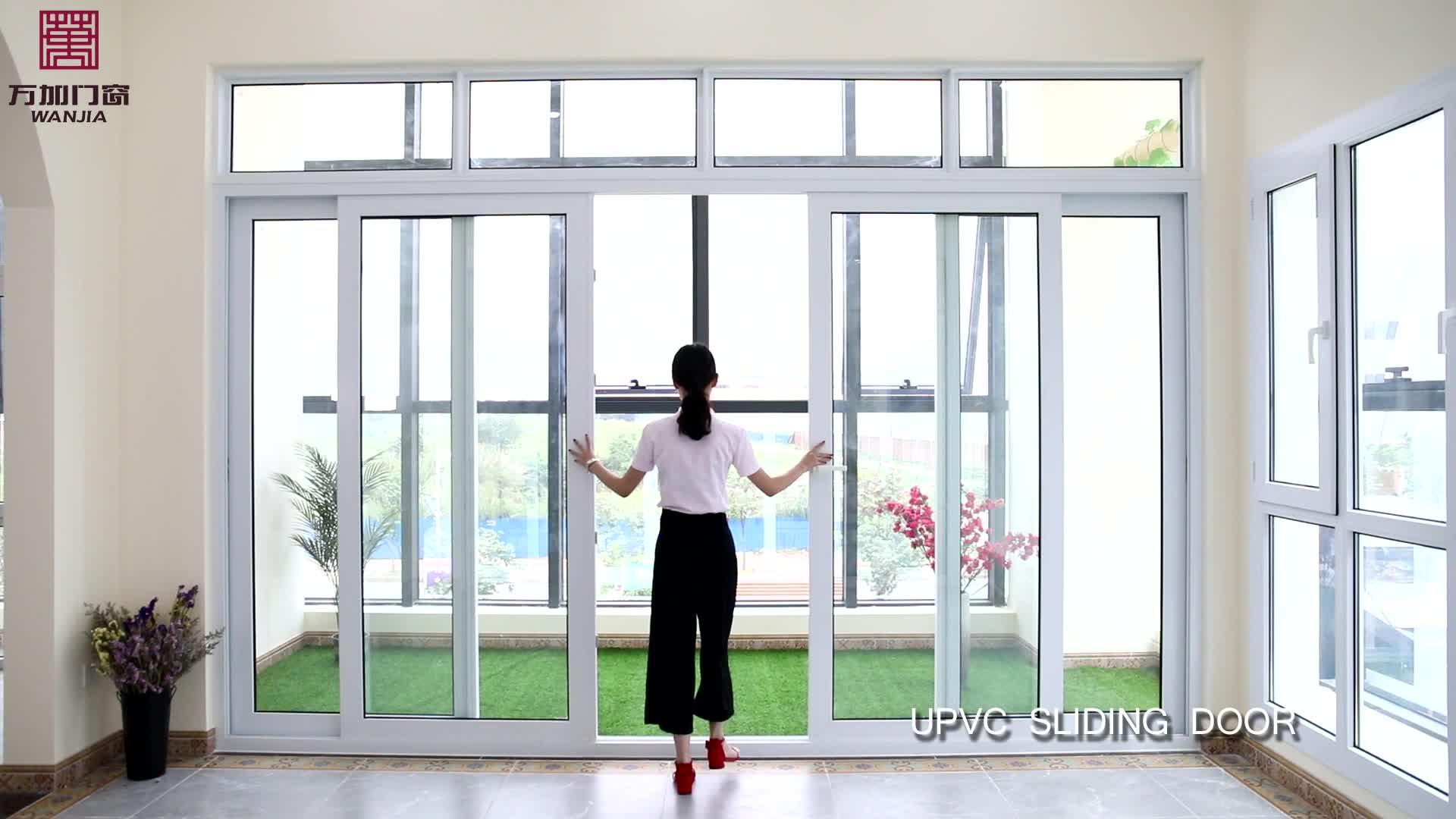 Upvc/pvc/kunststoff innen schiebe glas tür