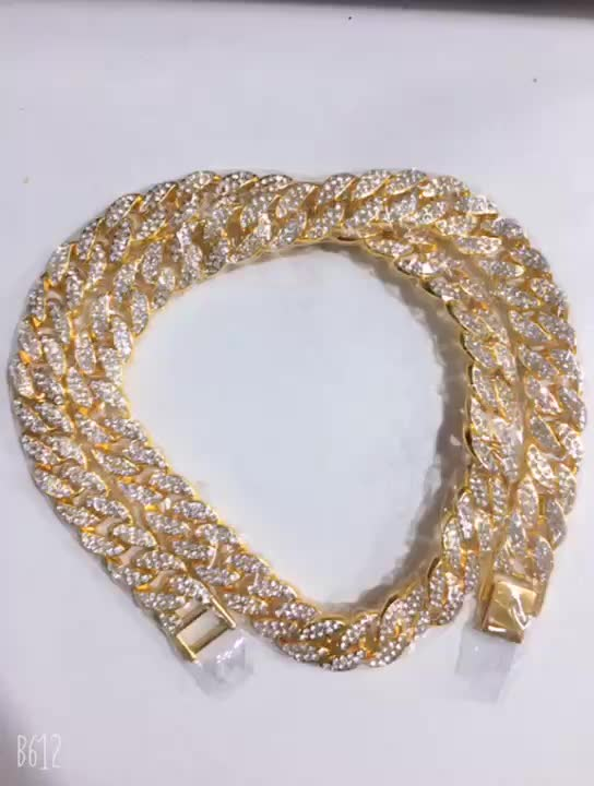 Hip hop Rock Miami Cuban Link Chain Mix Color Two Tone  Jewelry Bracelet