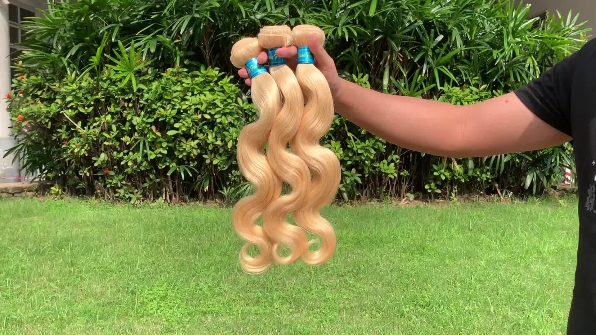 Luxefame Wholesale 613 Cuticle Aligned Virgin Hair,Russian Blonde Virgin Human Hair Bundle,613 Blonde Hair Weave