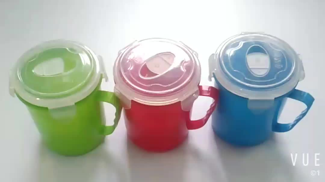 colourful 600ml pp fruit salad plastic salad  drinking water cup microwave safe with handle cover and lid