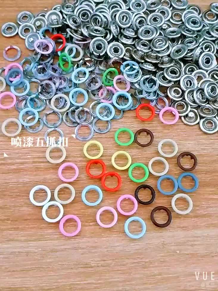 Custom decorative four parts brass metal ring cap pearl prong snap buttons for kids garments