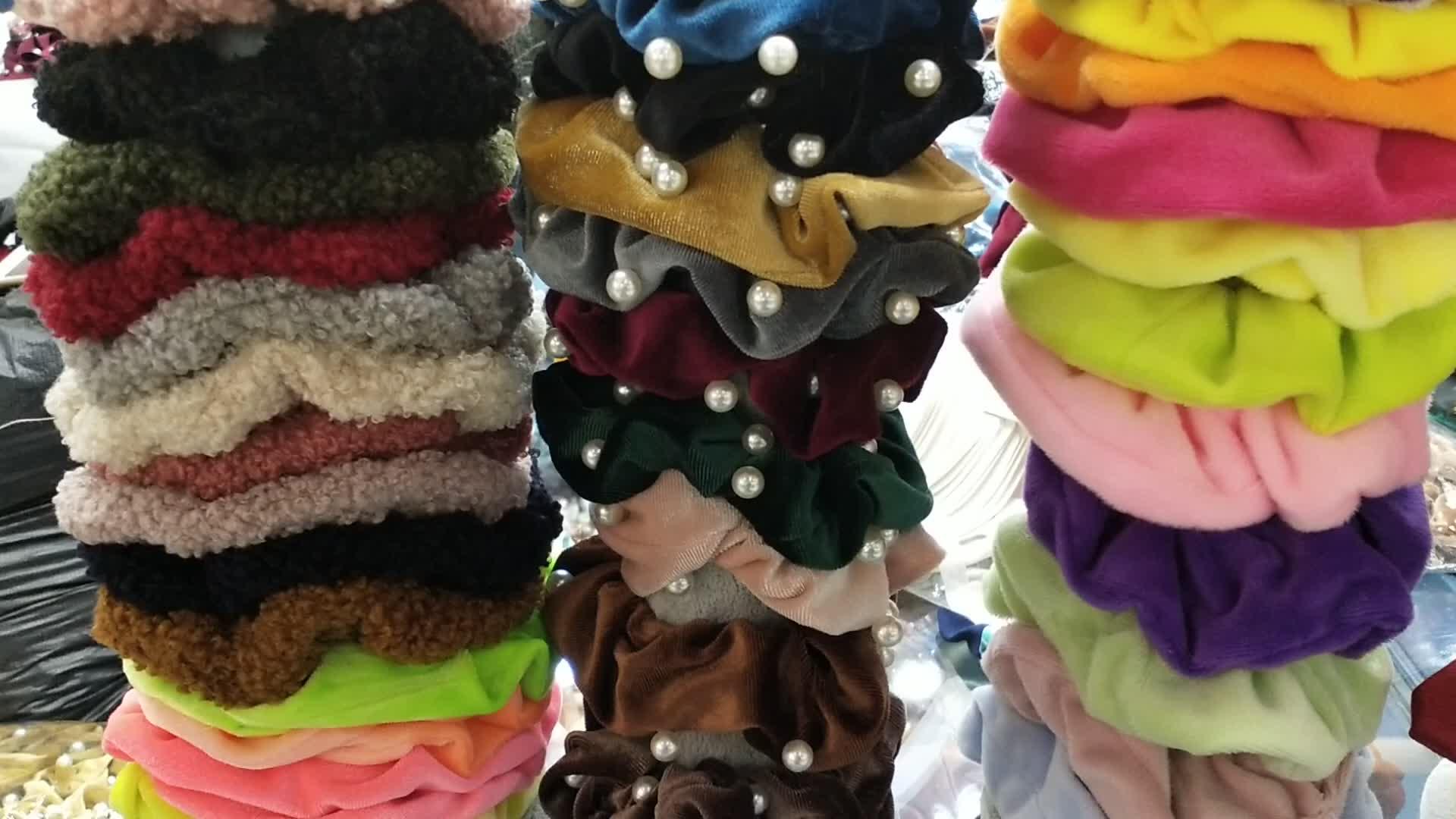 Bobble élastique bande de cheveux cheveux scrunchy couleurs personnalisées souple imprimé fleurs dentelle cheveux chouchous en vrac avec perles