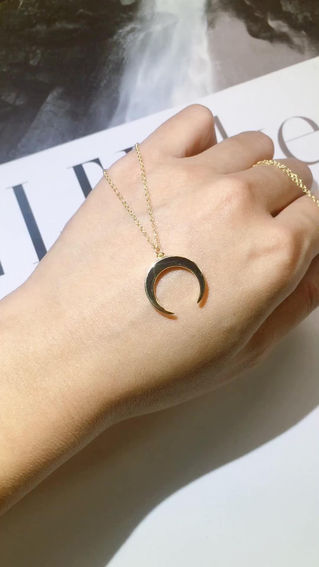 Fabrik Großhandel Mode Frauen 925 Silber Mond Anhänger 18k Gold Überzogene Schmuck Halskette Für Frauen
